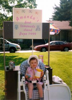 Amanda at her first lemonade stand, June 1999