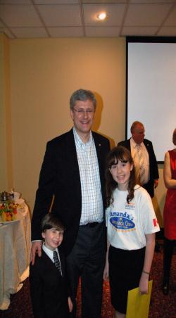 Amanda and Joshua with Prime Minister Harper