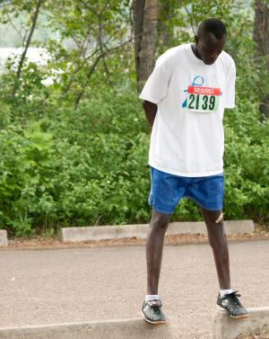 A runner gets ready for the Father's Day Walk/Run
