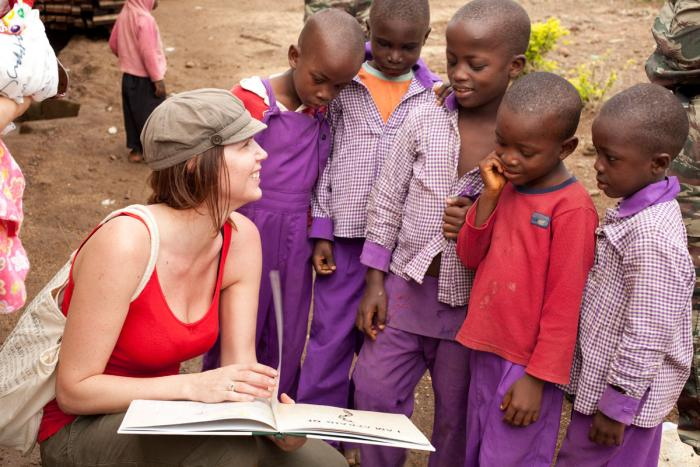 Treane Peake in Cameroon, Africa with her Obakki Foundation