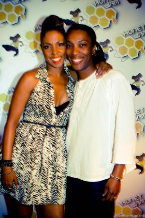 Ebonnie Rowe (L) with Aisha Wickham Thomas